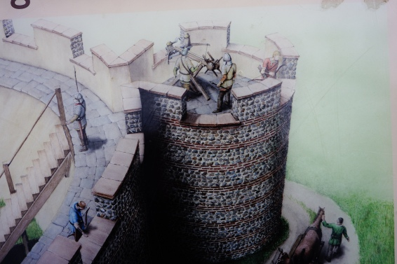 how the bastion may have looked, notice the parapet, this may have been a solid wall or in blocks as shown